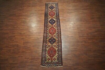 Antique 3X14 Karajeh Sarab Runner 1930s Persian Hand-Knotted Wool Rug (3 x 14.3)