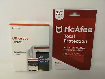 Genuine Microsoft Office 365 Home & McAfee Total Protection 6 Device New Sealed
