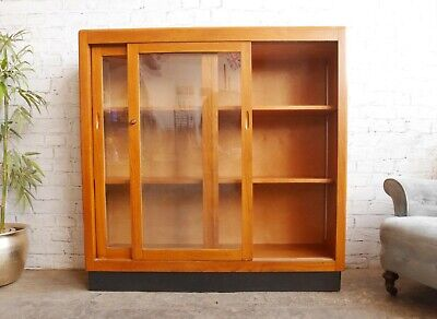 Vintage Mid Century 50s Art Deco Glazed Display Cabinet Shelving Unit Bookcase