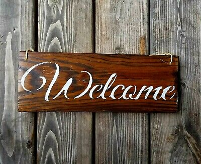Rustic Wooden Welcome Sign Handmade Real Wood Farmhouse Home Decor Welcome Signs
