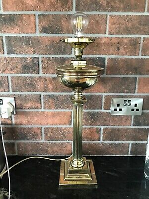 Very Tall Converted Brass Oil Lamp With Etched Glass Shade And Chimney Electric