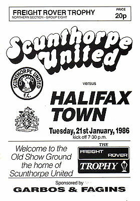 1985/86 Scunthorpe United v Halifax Town, Freight Rover Trophy, PERFECT