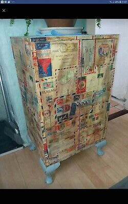 Antique style furniture | Decoupage cabinet, small, ideal storage, reproduction