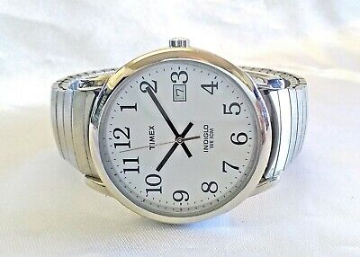 6cb21cc4c Timex Indiglo Date Easy Reader Watch Silver Tone Stretch Band 35mm Mens