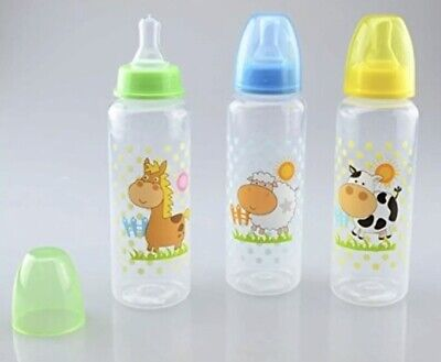 Baby Feeding Bottle 250ml. First Steps Silicon teat Farm Animal Sheep blue Lid