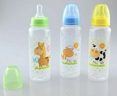 Baby Feeding Bottle 250ml. First Steps Silicon teat Farm Animal Cow Yellow Lid