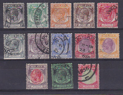 Straits Settlements Malaya 1936 Used Part Set Definitives to $2 King George V