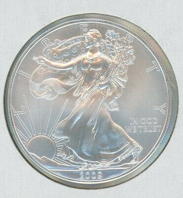 2009 ASE Silver American Eagle BU 1 oz Coin US $1 Dollar Mint Uncirculated BU