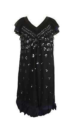 Mamas and Papas Maternity Dress Size 6 Black with Blue Trim Sequin Lined
