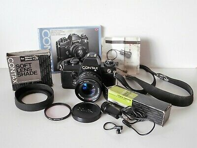 Contax 35mm Film Camera with Carl Zeiss Lens, Manual, Lens Shade, Cable Switch..