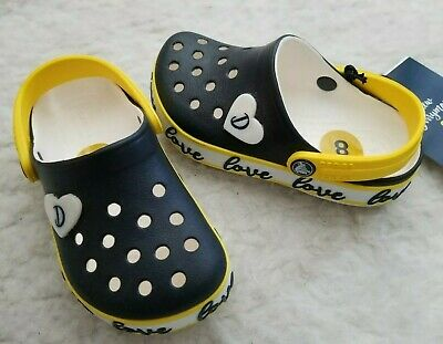 40cce0959 CROCS Drew X Crocband Clog by Drew Barrymore Toddler Girls Navy Yellow Size  8