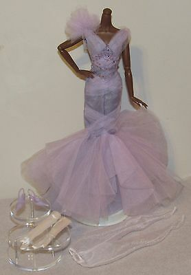 Lavender Luxe Silkstone Barbie Complete Fashion Outfit Mermaid Gown No Doll