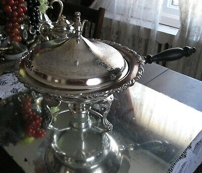 Large Gorgeous Antique/Vintage Complete Silver Plate Warming  Chafing Dish Bowl