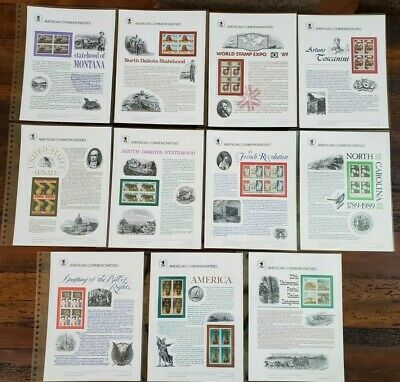 US 1989 Complete Year Set #321-342 USPS Commemorative Stamp Panels SCV $210.25
