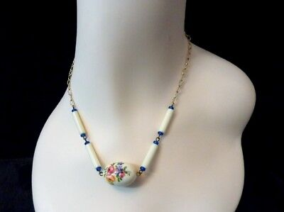 Vintage Porcelain Bead Necklace Hand Painted Floral Rose Choker Beaded Necklace
