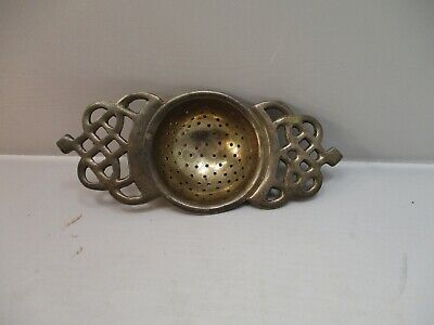 "Vintage Silver Plate Open Design Tea Strainer Made In India 5 3/8"" L x 2 1/4"" W"