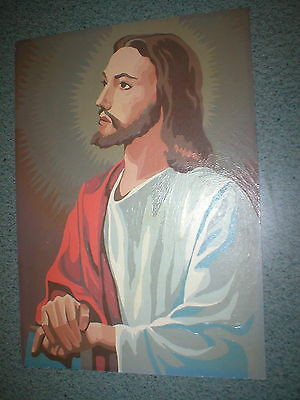 "Vintage Jesus Portrait Picture Completed Paint by Numbers 1960 14""  x 10"""