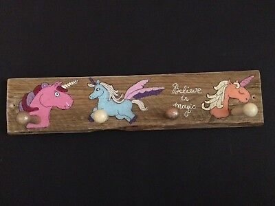 Girls hand painted wooden coat pegs - UNICORN design - recycled wood, shaker peg