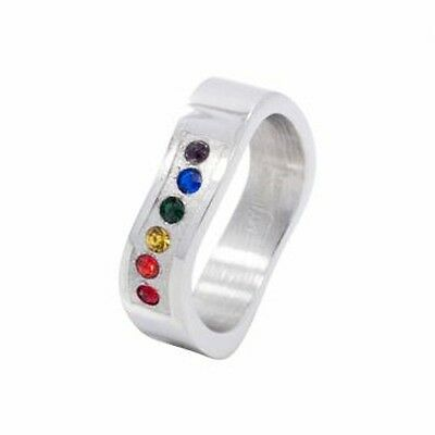 Bent Wavy Rainbow Gems Gay Lesbian Pride Band Stainless Steel Ring Sz 12