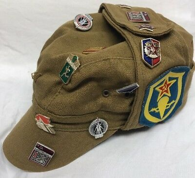 Russian Ussr Soviet Union Vintage Military Hat With 12 Pins And 2 Patches