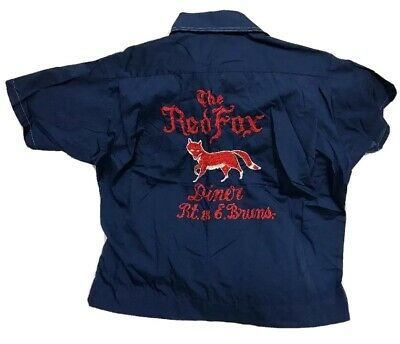VINTAGE 50s Olympian Bowling Shirt Embroidered Red Fox Diner Loop Collar Sz L