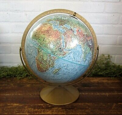 "Vintage Replogle 12"" Diameter Land and Sea ROTATING WORLD GLOBE Raised Relief"