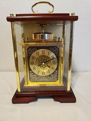 Seiko Oak & Brass Carriage Clock QQY352G Mantle Beautiful  Japan Movement Batt.