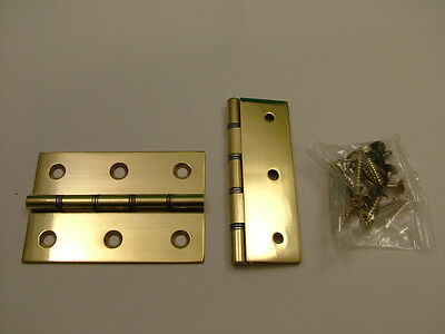 "Pair of polished solid brass hinges complete with screws 75mm/ 3"" door hinge"