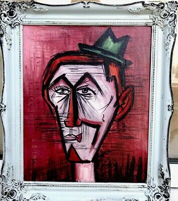 1950s French impressionist oil painting of head of clowns heads - Bernard Buffet