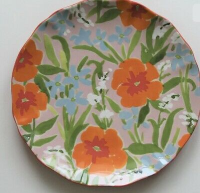 Anthropologie Leah Gored Painted Poppies  Side Dessert Plate NEW