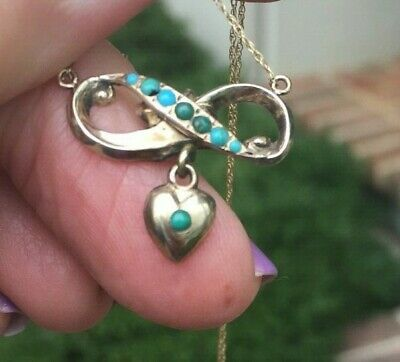 Antique Victorian Turquoise  Heart Infinity knot 9ct Pendant Necklace