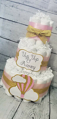 3 Tier Diaper Cake - Hot Air Balloon Diaper Cake Baby Girl / Pink and Gold