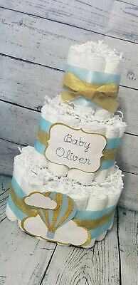 3 Tier Diaper Cake - Hot Air Balloon Diaper Cake Baby Girl / Blue and Gold