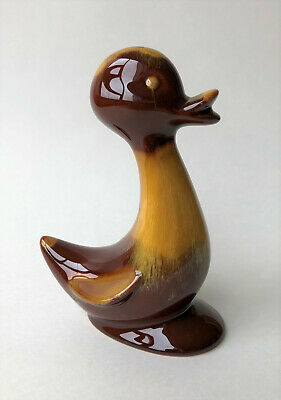 "Blue Mountain Pottery BMP 5.5"" Duck Figurine Harvest Gold Yellow Glaze Vintage"