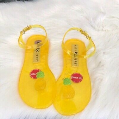 abfdd9792b3a Katy Perry Size 9 The Geli Flat Sandals PINEAPPLE Jellies Shoes Women  scented