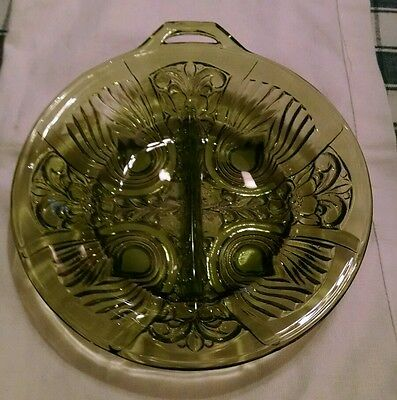Indiana Glass Divided Relish Dish Killarney Green Pattern Avocado