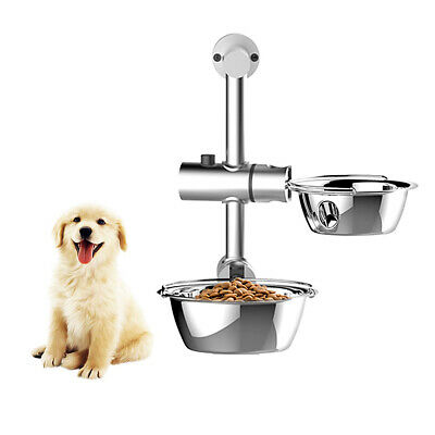 Stainless Steel Adjust Raised Pet Bowl Dog Double Bowls Food Stand Feeder G9R6