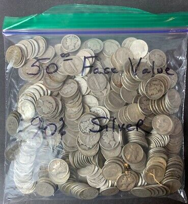 Bag of 500 90% Silver Roosevelt & Mercury Dimes $50 Face-Value Bag