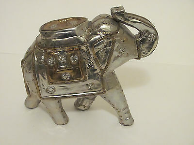 Elephant Statue in Shiney Silver & Gold colored Hammered Metal