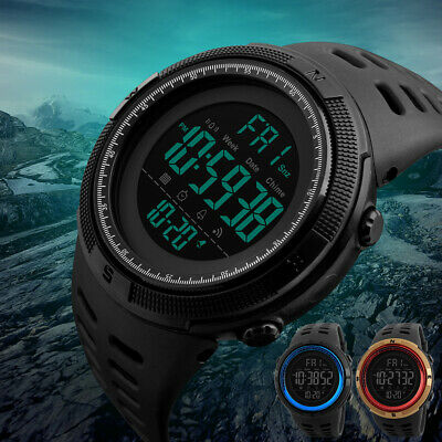 Mens Waterproof Skmei Digital Sports Watch Army Military Dress Water Resistant