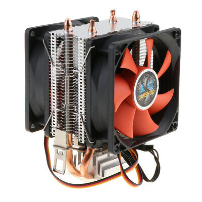DC 12V 3 Pin CPU Cooling Fan For PC Computer Quiet Dual Cooler