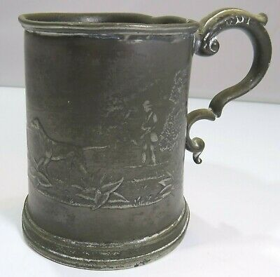 Antique C19th Pewter-Plated Tankard with Hunting Scene Decoration Dogs