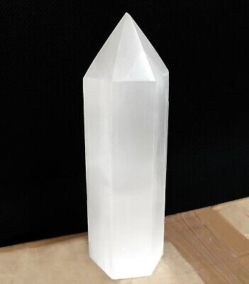 "Large SELENITE TOWER Polished "" inch Crystal Morocco Natural Carved Heal Energy"