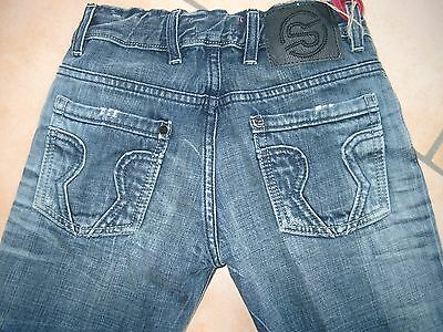 (210) Coole RARE-The Kid Boys dirty used look Jeans Hose + Logo Taschen gr.152