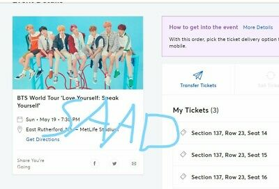 Bts New JerseyMet Life May 19. Section 137 Row 23 Seats 14,15,16,