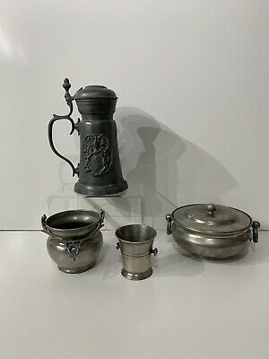 Antique Pewter Collection  x 4 items  Hallmarked