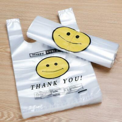 50X Carry Out Bags Retail Supermarket Plastic Shopping Thank You Clear Pouch