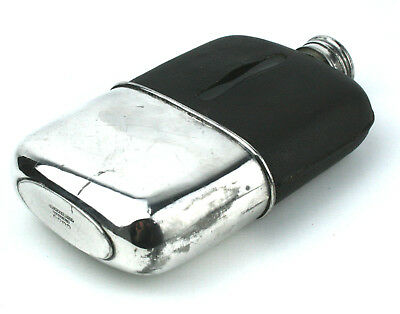 Antique Silver Plated Hip Flask G &J W Hawksley EPBM Leather Large