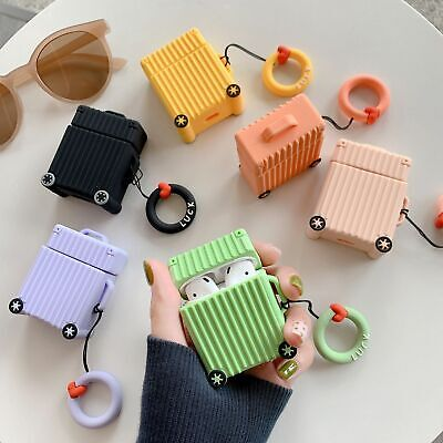 For AirPods Charging Protective Case Fashion Cute Creative Luggage Silicone