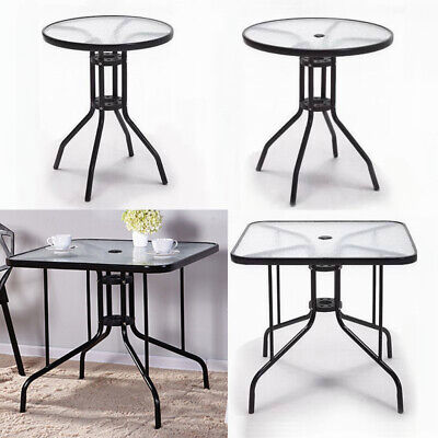 Outdoor Dining Table Tempered Glass Top Table w/ Metal Leg Garden Patio Bistro